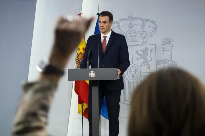 Pedro Sánchez, durante el anuncio sobre los impuestos hipotecarios.