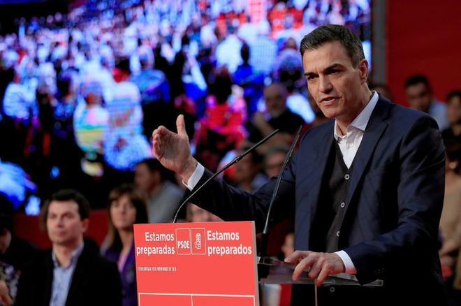 Pedro Sánchez, durante su intervención en el acto del PSOE en Fuenlabrada (Madrid).