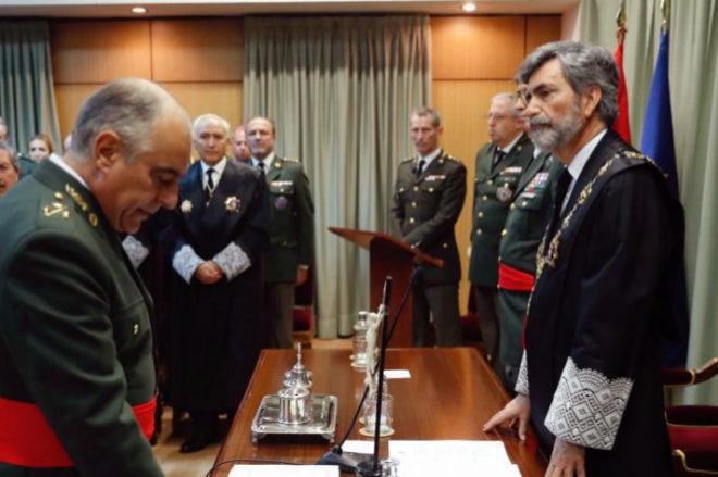 El presidente del CGPJ y del Supremo, Carlos Lesmes, en un acto en el...