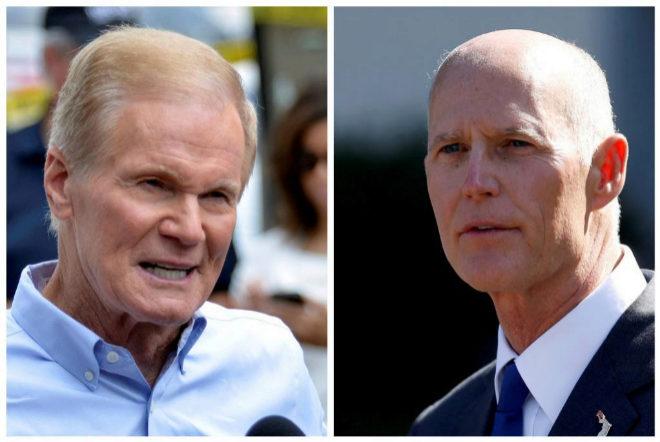 Bill Nelson, candidato demócrata a senador por Florida y Rick Scott, candidato republicano.