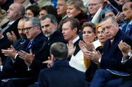 Macron, durante su discurso frente a la atenta mirada del Rey de España.