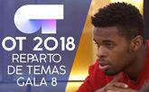 Famous, de OT 2018, durante el reparto de temas de la gala 8.