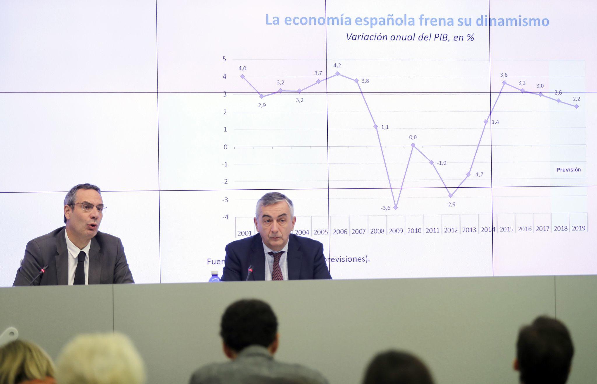 Raymond Torres y Carlos Ocaña durante la presentación del informe.