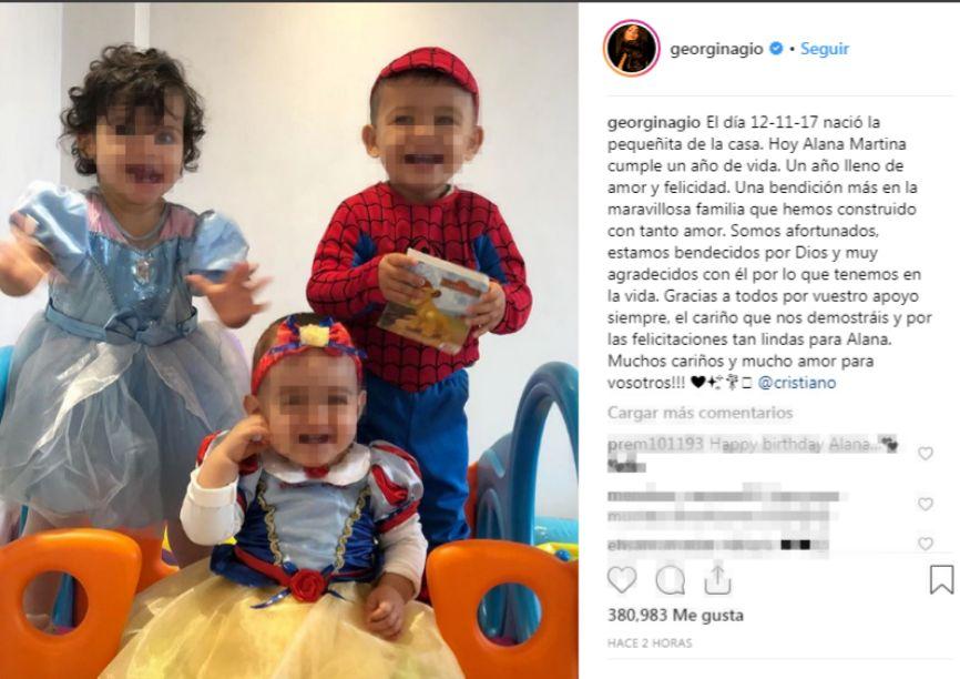 La hija de Cristiano Ronaldo y Georgina cumple un año
