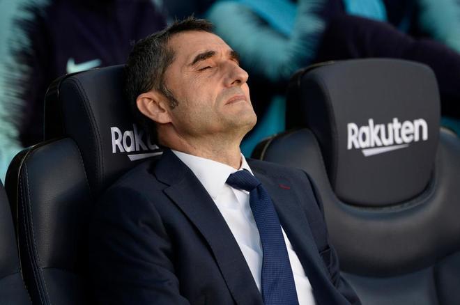 Ernesto Valverde, técnico del Barcelona, el pasado domingo en el Camp Nou.