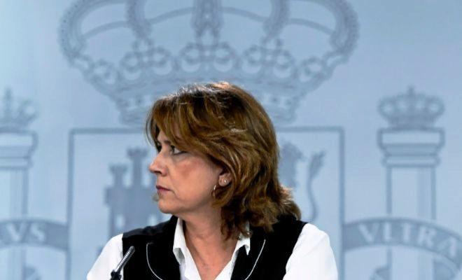 La ministra de Justicia, Dolores Delgado, en una rueda de prensa tras...