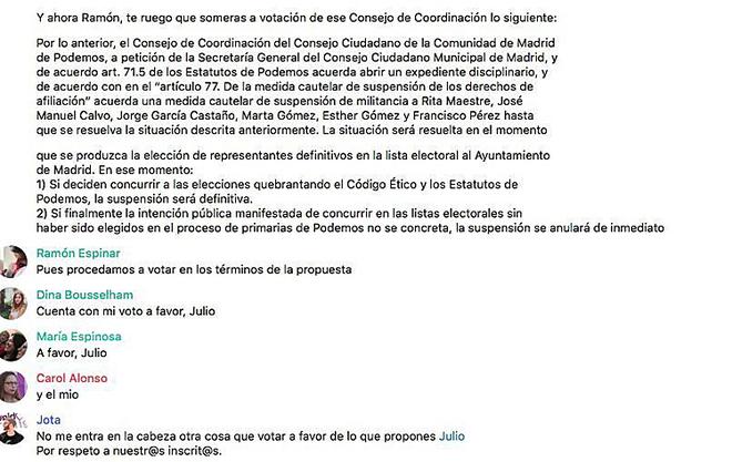 Pantallazo del inicio de la votación telemática en Podemos.
