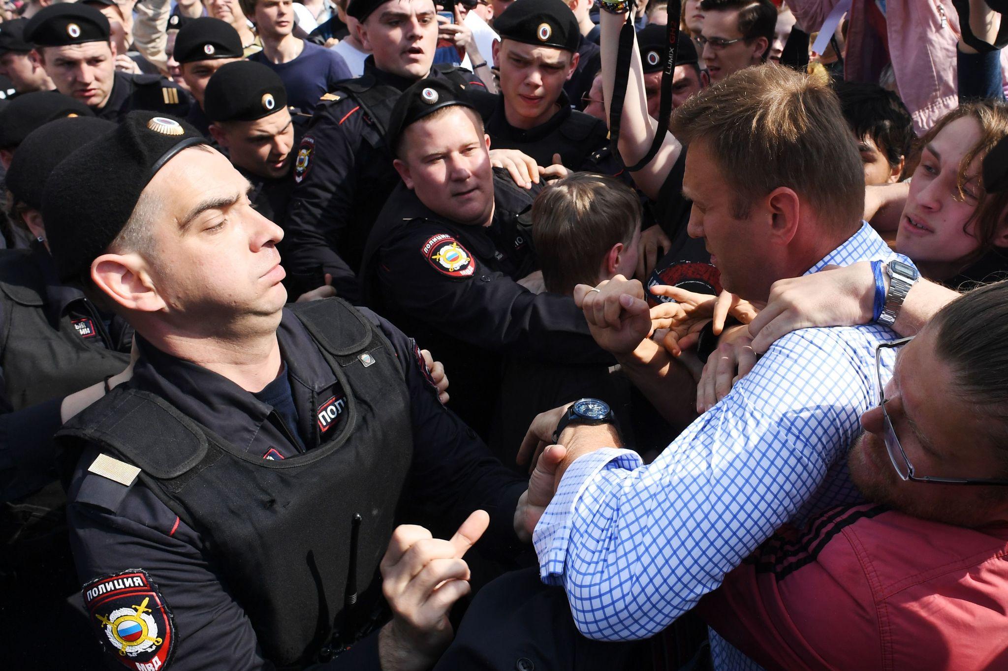 El opositor Navalny durante una detención el pasado marzo