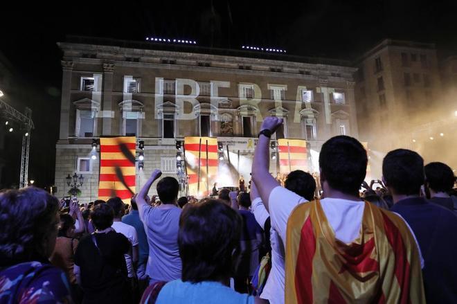 Acto institucional de la Diada para pedir la libertad de los independentistas presos y fugados.