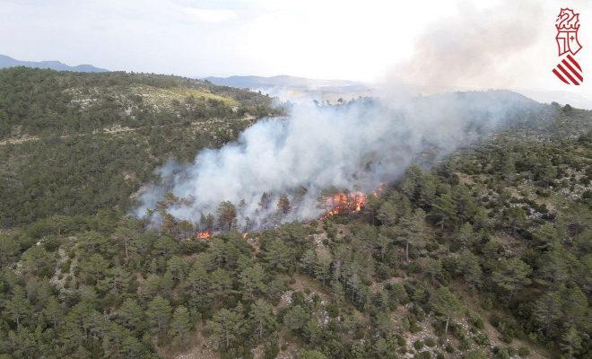 Imagen aérea del incendio en Villahermosa del Río producido en julio.