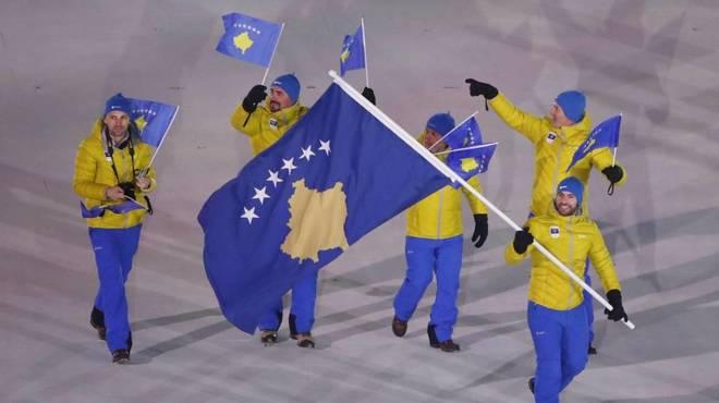 La delegación de Kosovo, durante los JJOO de Invierno de PyeongChang.