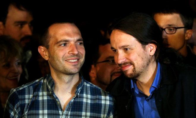 Luis Alegre y Pablo Iglesias, en el inicio de la campaña de las elecciones de 2015.