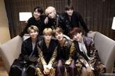 Los miembros de BTS,  la banda de K-POP, posan en una imagen...