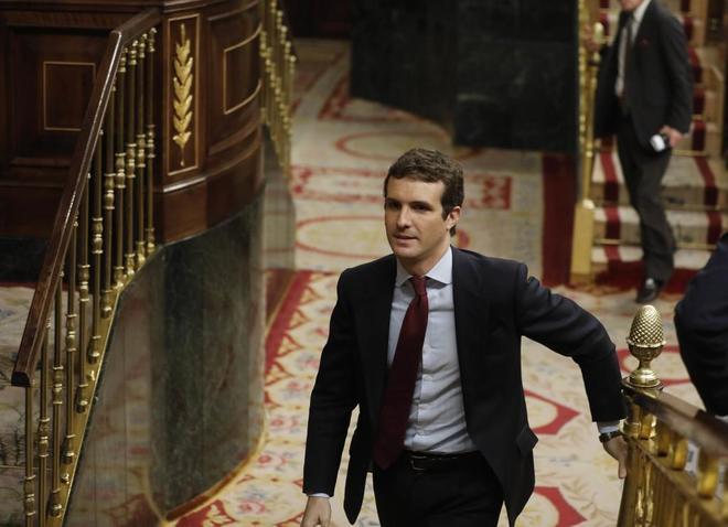 El presidente del PP, Pablo Casado, durante la sesión de control al Gobierno