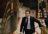 El presidente del PP, Pablo Casado, durante la sesión de control al...