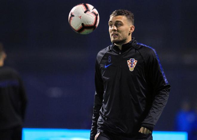 Kovacic, durante el entrenamiento de Croacia en Zagreb.