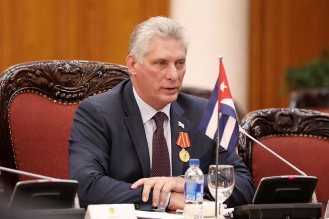 El presidente cubano, Miguel Díaz-Canel, en un acto en Hanoi (Vietnam),