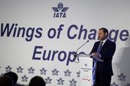 El ministro de Fomento español, José Luis Ábalos, en la inauguración del evento de Iata.
