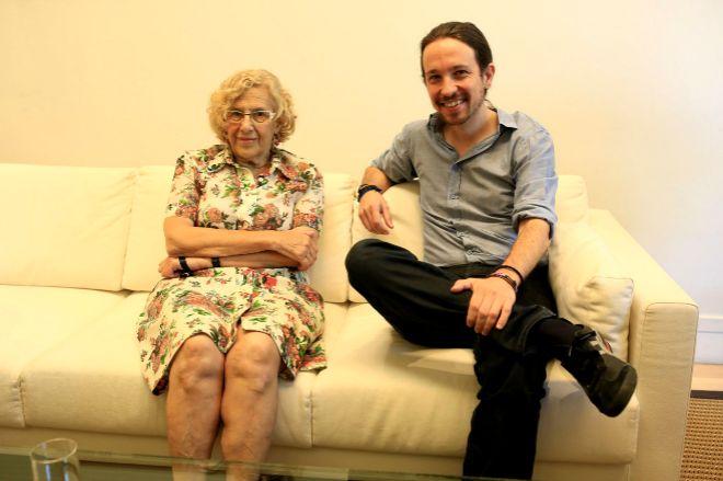 Manuela Carmona y Pablo Iglesias, en una imagen de 2015.