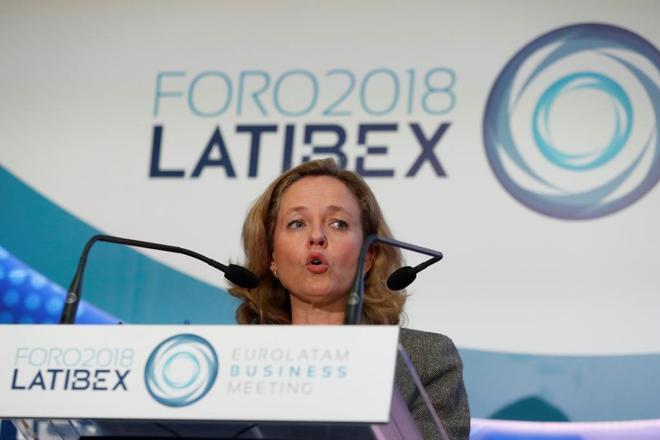 Nadia Calviño, ministra de Economía, durante su intervención, el jueves, en el Foto Latibex.