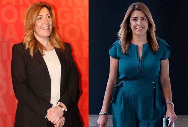 A la izquierda, Susana Díaz en 2016 y a la derecha, en 2018.