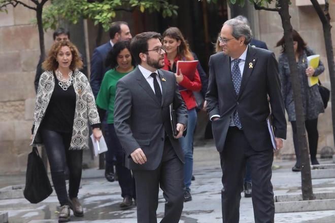 El president Torra en el encuentro con los partidos en el Palau de la Generalitat.