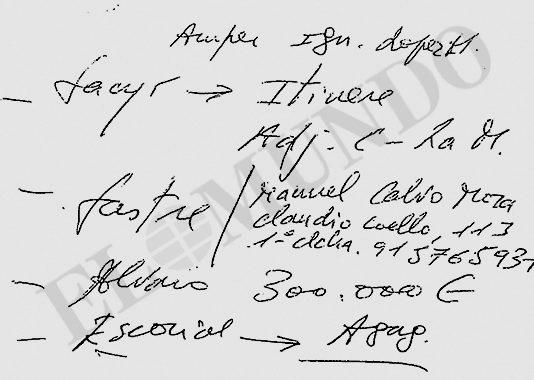 Extracto de uno de los documentos que Interior robó a la familia...