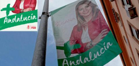 Susana Díaz esconde el logo del PSOE en las banderolas de las elecciones