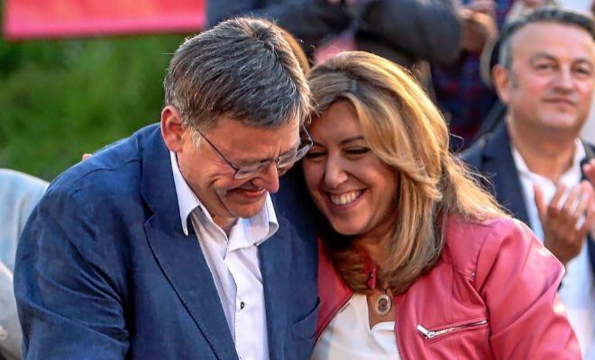 La candidata a la secretaría general del PSOE, Susana Díaz junto a Ximo Puig celebran un mitin en Valencia.