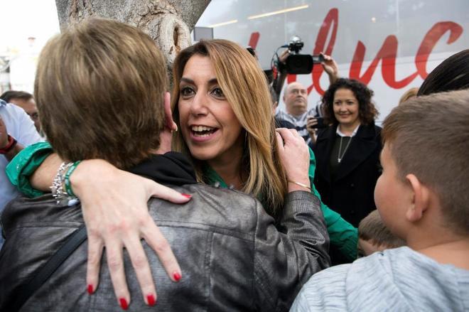 Susana Díaz, en un acto de campaña en Vélez-Málaga.
