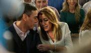 El presidente del Gobierno, Pedro Sánchez, con la presidenta...