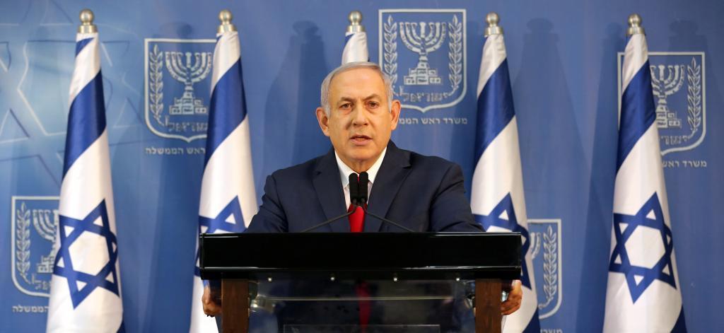 El primer ministro israelí, Benjamin Netanyahu, ofrece una rueda de prensa en Tel Aviv, Israel.