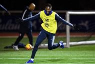 Ousmane Dembélé, en un entrenamiento con la selección francesa.