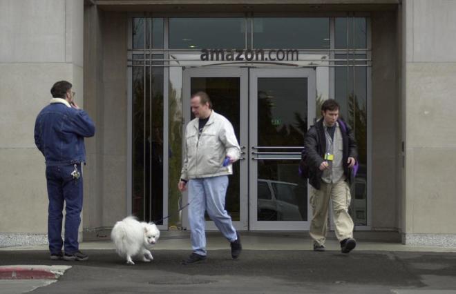 Puerta trasera de la sede de Amazon en Seattle.
