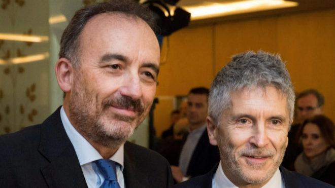 Manuel Marchena y el ministro del Interior, Fernando Grande-Marlaska, la pasada seman en un desayuno informativo en Madrid.