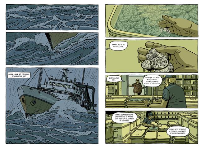 Dos de la viñetas del cómic 'El tesoro del Cisne Negro', publicado por Astiberri.