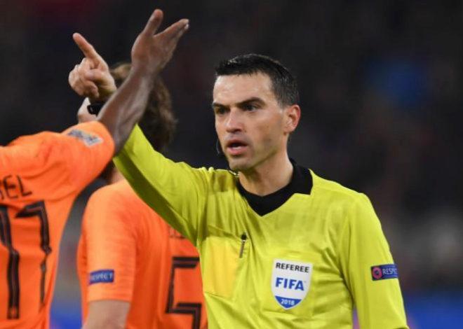 El árbitro Ovidiu Hategan, durante el Alemania-Holanda del lunes.