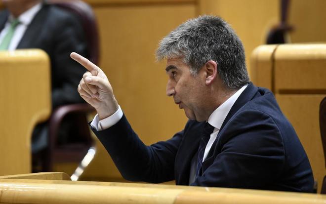 El portavoz del PP en el Senado, Ignacio Cosidó, durante la sesión de control