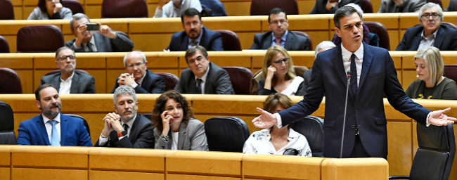 El presidente del Gobierno, Pedro Sánchez, durante la sesión de...