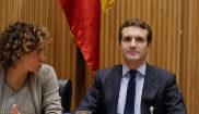 Pablo Casado, con Dolors Montserrat y Teodoro García Egea este martes...