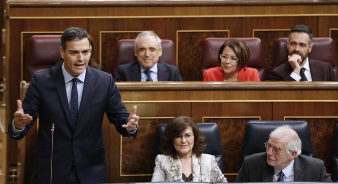 Pedro Sánchez, durante una de sus intervenciones este miércoles en el Congreso.