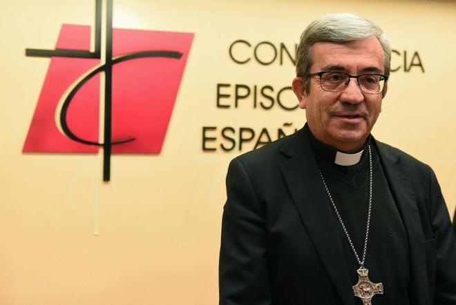 Luis Argüello, hoy, en rueda de prensa en la sede de la Conferencia Episcopal.
