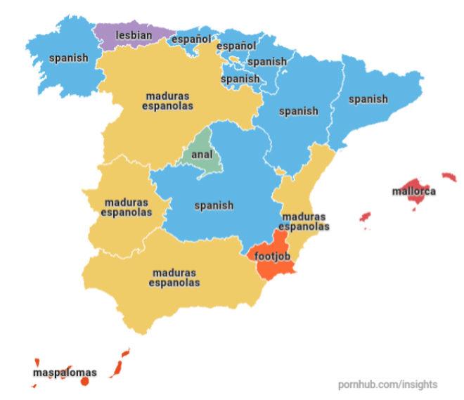 Diferencias territoriales en cuanto a consumo de porno en España.