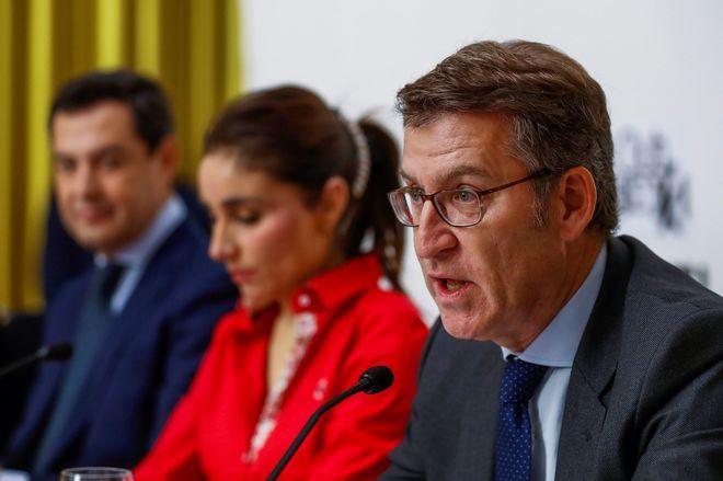 El presidente de la Xunta de Galicia, Alberto Núñez Feijóo, durante un acto de campaña para las elecciones andaluzas