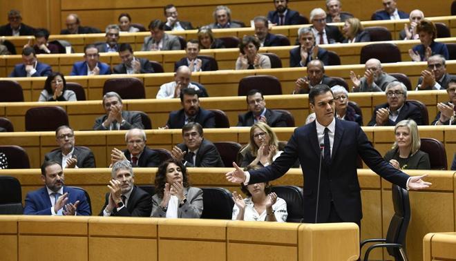 Pedro Sánchez, el martes, en la sesión de control al Gobierno en el...