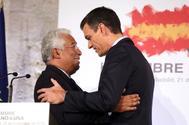 Antonio Costa y  Pedro Sánchez, en la rueda de prensa tras la Cumbre Hispano-Portuguesa.