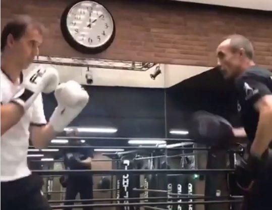 Imagen de Lopetegui entrenando con José Luis Serrano.