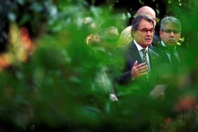 Artur Mas, durante una declaración en Barcelona tras la condena del Tribunal de Cuentas.