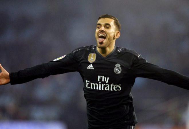 Dani Ceballos celebra el cuarto gol del equipo madridista ante el Celta de Vigo.