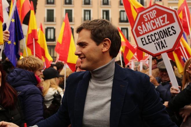 El presidente de Ciudadanos, Albert Rivera, durante el acto de España...